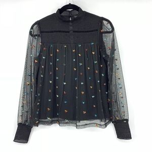 TopShop Ditzy Embroidered Smock Top
